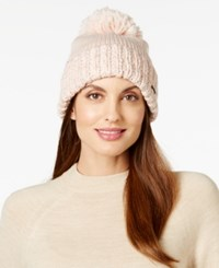 Bcbgeneration Thick And Thin Pom Pom Beanie Only At Macy's Rose Smoke