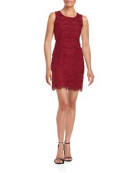 Jessica Simpson Tiered Lace Cocktail Dress Cabernet