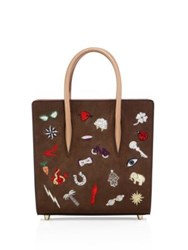 Christian Louboutin Paloma Small Embroidered Leather Tote Chatain