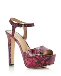 Michael Michael Kors Trish Snake Embossed Open Toe High Heel Platform Sandals