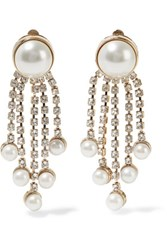 Valentino Gold Plated Faux Pearl And Crystal Earrings Ivory