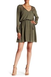 Daniel Rainn Long Sleeve Crochet Combo Peasant Dress Green