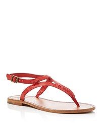 Frye Ruth Whipstitch T Strap Sandals Red