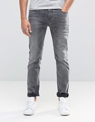 Selected Homme Washed Grey Jeans With Stretch In Slim Fit Grey