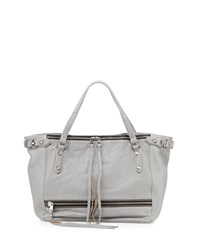 Ash Ace Zip Leather Tote Bag Stone Gray