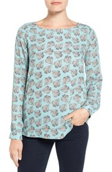 Pleione Women's Bateau Neck Long Sleeve Blouse Sky Blue Dusty Aqua