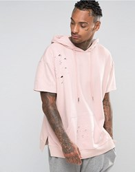 Sixth June Distressed Hoodie With Short Sleeves Stone Pink