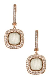 Savvy Cie 18K Rose Gold Plated Sterling Silver Dome Cat Eye And Cz Halo Square Drop Earrings Gray