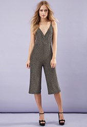 Forever 21 Glitter Knit Culottes Jumpsuit Black Silver