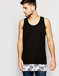 Asos Longline Vest In Relaxed Skater Fit With Floral Print Hem Black