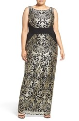 Adrianna Papell Plus Size Women's Jersey Inset Metallic Lace Column Gown