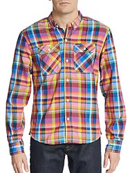 Prps Liam Madras Plaid Cotton Sportshirt Pink Multi