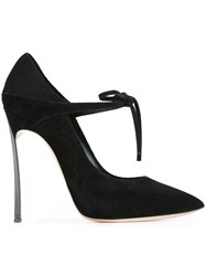 Casadei Tie Detail Pointed Pumps Black