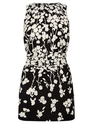 Oasis Meadow Floral Shadow Tunic Top Black White