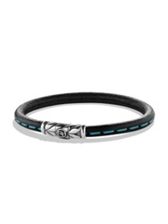 David Yurman Chevron Leather Bracelet Black Green