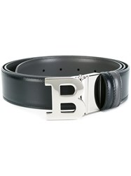Bally Silver Tone 'B' Letter Belt Blue