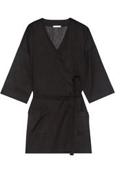 Skin Ryder Striped Pima Cotton Robe Black