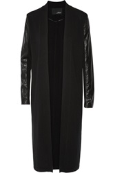 Line Faux Leather Paneled Wool And Cashmere Blend Cardigan