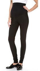 Plush Matte Spandex Maternity Leggings Black