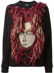 Lanvin Fringed Face Sweatshirt Black