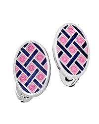 Jan Leslie Crisscross And Dot Enameled Oval Cuff Links Pink Navy