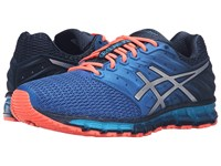 Asics Gel Quantum 180 2 Dark Navy Silver Flash Coral Men's Running Shoes Blue
