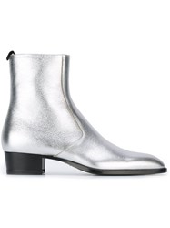Saint Laurent 'Wyatt 40' Chelsea Zipped Boots Metallic