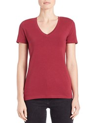 Lord And Taylor Stretch Cotton V Neck Tee Rhododendron