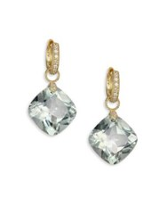 Jude Frances Classic Green Amethyst Diamond And 18K Yellow Gold Large Cushion Earring Charms