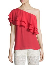 Haute Hippie Silk One Shoulder Flutter Blouse Battle Red Women's Size S