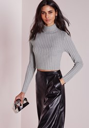 Missguided Long Sleeve Turtle Neck Knitted Crop Jumper Grey Grey