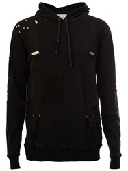 Greg Lauren Distressed Patchwork Hoodie Black