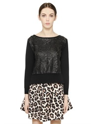 Blugirl Faux Leather Lace And Wool Sweater