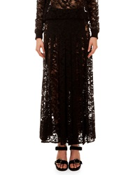 Givenchy Long Sheer Lace Skirt