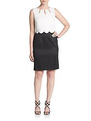 Ellen Tracy Scalloped Overlay Sheah Dress White Black