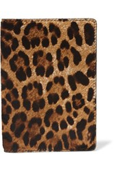 The Case Factory Leopard Print Calf Hair Passport Cover Brown