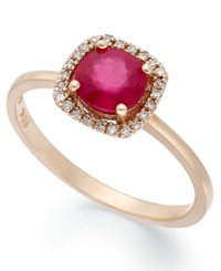 Effy Collection Rosa By Effy Ruby 1 Ct. T.W. And Diamond Accent Square Ring In 14K Rose Gold