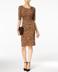 Connected Printed Faux Wrap Dress Cognac