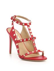 Valentino Rockstud Leather T Strap Sandals Red