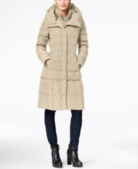 Cole Haan Hooded Long Down Puffer Coat With Vestee Light Brown