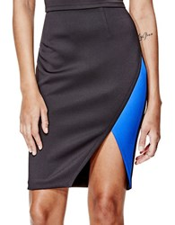 Guess Colorblocked Pencil Skirt Black And Blue