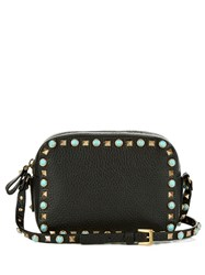 Valentino Rockstud Rolling Leather Camera Cross Body Bag Black