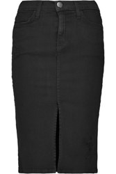 Current Elliott The High Waist Distressed Stretch Denim Skirt Black
