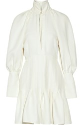 Ellery Butler Asymmetric Pleated Twill Mini Dress Off White