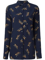 Paul Smith Ps By Leopard Print Shirt Blue