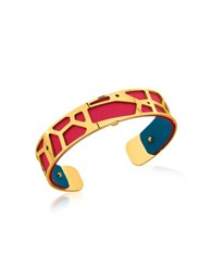Les Georgettes Small Girafe Gold Plated Bracelet W Red And Petrol Blue Reversible Leather Strap
