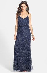 Petite Women's Adrianna Papell Embellished Blouson Gown Navy