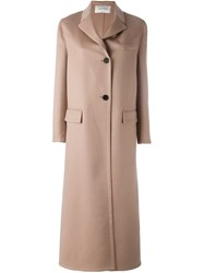 Valentino Single Breasted Long Coat Nude Neutrals