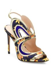 Nicholas Kirkwood Leelee Cutout Flower Print Sandals Sunflower