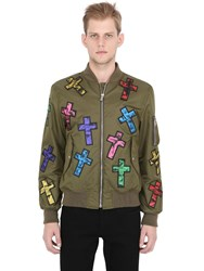 Moschino Cross Patches Techno Satin Bomber